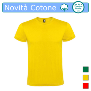 T-SHIRT COTONE NOVITA GIALO VERDE ROSSO ATOMIC UOMO COLOR TARGET